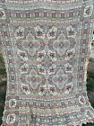 Vintage Off White, Blue & Red Middle Eastern Print Tapestry Throw