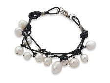 Freshwater Pearl and Black Leather Charm Bracelet - Women Bracelet