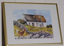 Framed Signed Print Irish Artist Philip Gray, Roof Thatching, Rooster, Ireland