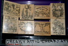 STAMPIN UP FEATHERED FRIENDS 8 RUBBER STAMPS BABY WINDOW BIRTHDAY WATERCAN