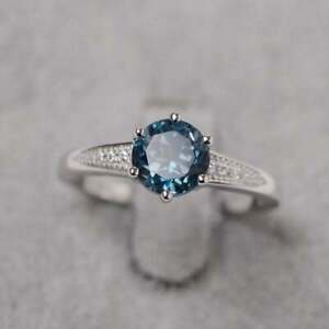2Ct Attractive Round Cut London Blue Topaz Engagement Ring 14K White Gold Finish