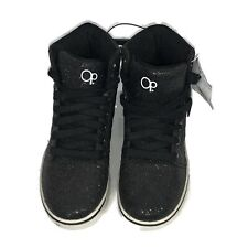 OP Girls Sneakers Black Glitter High Hi Top Tennis Skate Shoes Size 2 New