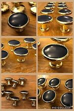 6 Knobs Pulls Round Royal Blue & Brass Tone Cabinet Drawer Mid Century Vintage