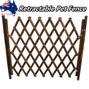 Wooden Pet Gate Dog Fence Retractable Barrier Sliding Door Security Protector AU