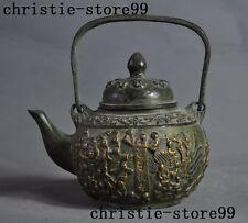 "6""Marked Old Chinese bronze carving Boy children Wine Tea Pot Flagon Tea set"