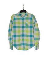 American Eagle Green Plaid Button Down Shirt 8 Women Long Sleeve