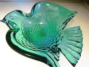 "Vintage Italian Murano Art Glass Blue Green Peace Dove Bowl 8"" 20cm Excellent"