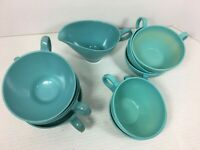 Vintage Lot of 10 Turquoise Blue Melmac Melmine Plastic Cups and Creamer