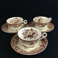 Set of 3 VTG Cups and Saucers by Spode Copeland Marina Royal Jasmine England 682