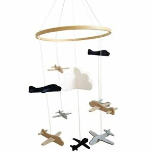 Nursery Room Crib Ornament Hanging Airplane Durable Felt Wood Toy Decoration