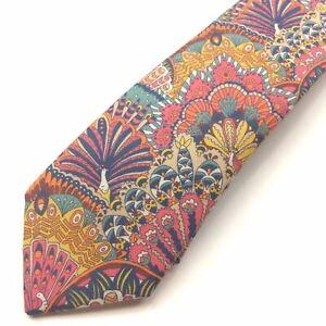 Gianni Feraud x Liberty Fabrics Mens Neck Tie Peacock Parade Print Skinny $130