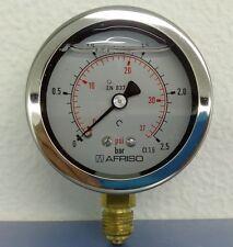 """MANOMETRO 0-2,5 BAR CLASSE 1.6 CASSA INOX D.63mm CON GLICERINA 1/4"""""""
