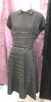 40s Black Crepe&Satin Stripe Cocktail Dress by Shirley Lee w/satin belt sz S