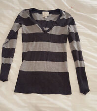 PINK ROSE S Small Black Gray Striped Long Sleeve Sweater Women's