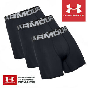 Under Armour Men's Charged Cotton 6'' Boxer Jock 3-Pack Black - NEW! 2021