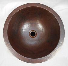 "15"" Round Hand Hammered Drop In Copper Bathroom Vanity Sink"
