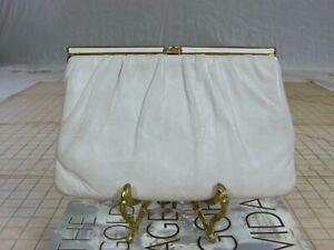BaRgAiN BiN : ETRA vintage 60s white leather EVENING BAG PURSE brass frame