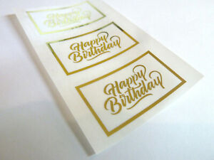Happy Birthday Stickers Gold on Clear Labels Cards Envelopes Craft HBGFOIL2