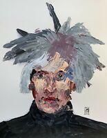 Original Abstract Portrait Andy Warhol Impasto Pop Art Palette Knife Painting