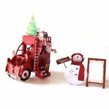 Christmas Car 3D Pop Up Greeting Cards Wedding Birthday Holiday Postcard Gifts
