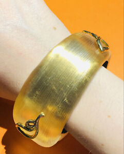 Alexis Bittar Wide Yellow Lucite Gold Plated Leaf Pattern Bangle Bracelet