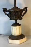 Antique Italian bronze patinated carved with pigeons and flowers as lamp w/marbl