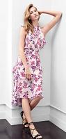 NWT Express Floral Print Tiered Halter Neck Midi Dress Value $70 SZ S/M Wedding