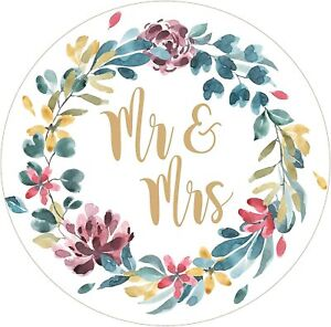 Round Mr & Mrs wedding stickers for envelopes, tissues, confetti cones/pouches