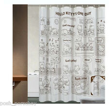 Quality Polyster 180 x 180cm Brown White Cat Hello Kitty Spots Shower Curtain