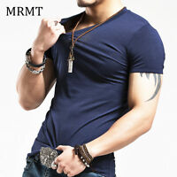 V Neck T-Shirt Slim Fit Tshirt  Short Sleeve Muscle Casual Tshirt Men Fitness