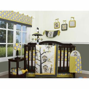 Yellow Gray White Monkey 13 pc Crib Bedding Set Baby Nursery Quilt Bumper Diaper