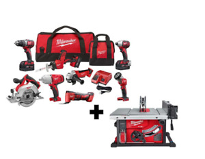 Milwaukee Tool Kit M18 Cordless Combo (8-Tool) W/ FUEL 8-1/4 in.+Table Saw