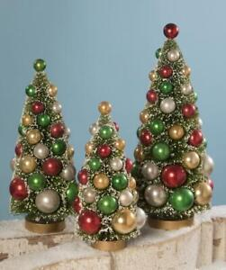 """Bethany Lowe 9"""", 11"""", and 13"""" Green Bottle Brush Tree Set with Multi-Color Balls"""