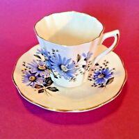 Royal Dover Tea Cup And Saucer - Blue Bachelor Buttons - Bone China - England
