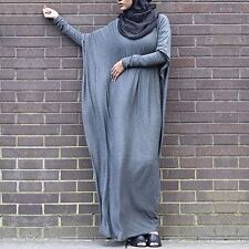 Batwing Abaya Dress Cotton Hijab Loose Oversize Maxi Party Long Dress