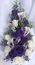 Wedding Flowers Overarm Bouquet White & Purple Lillies Purple Gyp  approx 15 inc