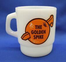 VINTAGE FIRE KING The Golden Spike Coronet VSQ Brandy Milk Glass Mug
