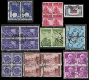 U.S.A. 27 Stamps 1939 to 1947 All Postmarked Salem Oregon, Mainly Blocks & Pairs