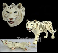 Realistic White Tiger Wild Animal Figure Solid Plastic Toy Model