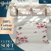 Swallows Blossom Chinoiserie Red Doona Cover Set Single Double Queen King Size