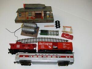 Vintage Model Train LOT - Tyco Streamline Coach Freight Station Tracks Santa Fe