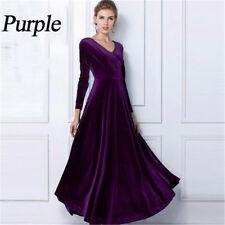 Womens Elegant V Neck Long Sleeve Velvet Party Evening Long Maxi Dress Plus Size