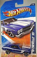 2011 Hot Wheels #102 Muscle Mania 2/10 '70 CHEVELLE SS Blue Variation w/5 Spokes