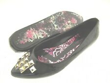 Ed Hardy Geisha Tattoo Design Silver Studded Patent PU Pointy toe Flats Size 8M