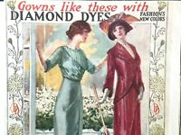 1908-1919 DIAMOND DYES lot of three magazine ads WOMEN'S FASHION dresses & gowns