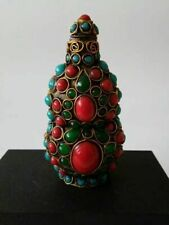 Tibet and Nepal folk Cloisonne inlaid with Turquoise snuff bottle A