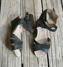 Mephisto Leather Wedge Heel Sandal Shoes Women's 39 Black/Tan