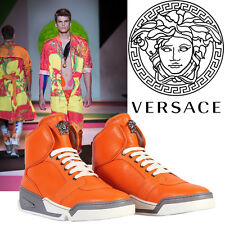 $1,125 New Versace Men's Orange Perforated Leather  High-Top Sneakers 44 - 11