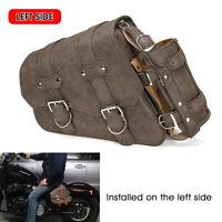 Left Side Motorcycle Saddlebag Pannier Luggage & Fuel Oil Bottle Holder Brown ^
