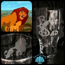 Personalised Disney The Lion King Simba & Mufasa Pint Glass Free Name Engraved